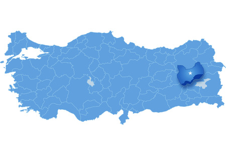 pulled out: Map of Turkey where Mus province is pulled out, isolated on white background Illustration