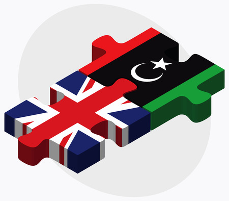 dinar: United Kingdom and Libya Flags in puzzle isolated on white background Illustration