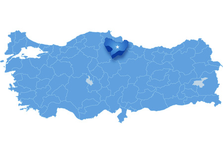 Map of Turkey where Amasya province is pulled out, isolated on white background