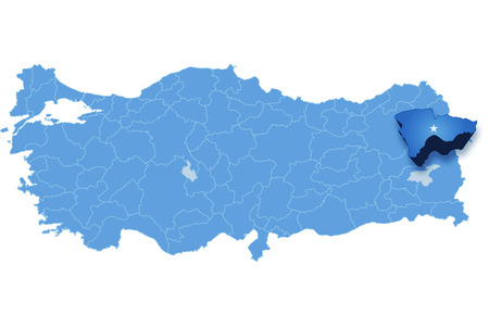 pulled out: Map of Turkey where Agri province is pulled out, isolated on white background