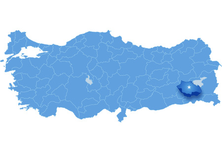 pulled out: Map of Turkey where Siirt province is pulled out, isolated on white background