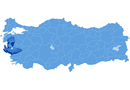 pulled out: Map of Turkey where Izmir province is pulled out, isolated on white background