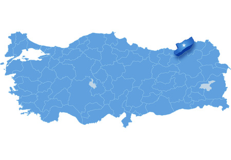 pulled out: Map of Turkey where Rize province is pulled out, isolated on white background