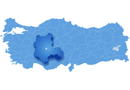 Map of Turkey where Konya province is pulled out, isolated on white background