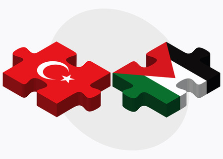palestine: Turkey and Palestine Flags in puzzle isolated on white background