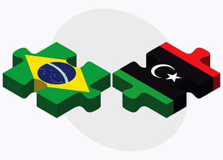 dinar: Brazil and Libya Flags in puzzle isolated on white background