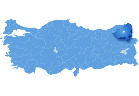 pulled out: Map of Turkey where Kars province is pulled out, isolated on white background