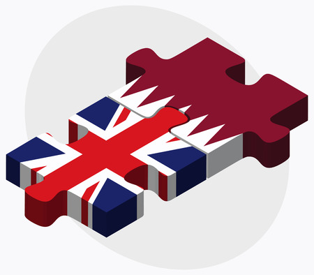 United Kingdom and Qatar Flags in puzzle isolated on white background