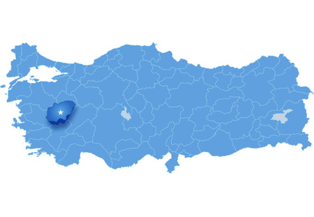 land mark: Map of Turkey where Usak province is pulled out, isolated on white background