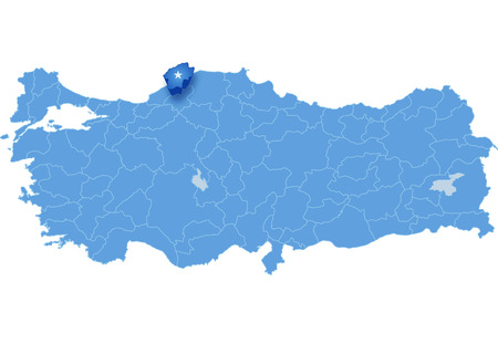 land mark: Map of Turkey where Bartin province is pulled out, isolated on white background