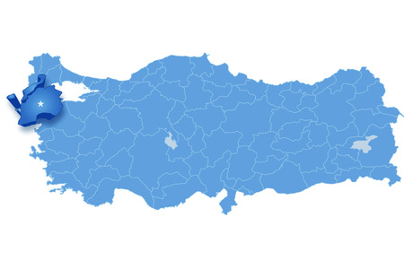 subdivisions: Map of Turkey where Canakkale province is pulled out, isolated on white background Illustration
