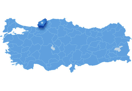 haul: Map of Turkey where Zonguldak province is pulled out, isolated on white background