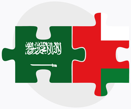 oman background: Saudi Arabia and Oman Flags in puzzle isolated on white background Illustration