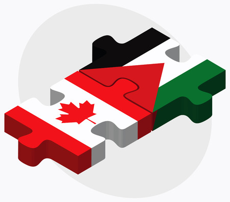 palestine: Canada and Palestine Flags in puzzle isolated on white background