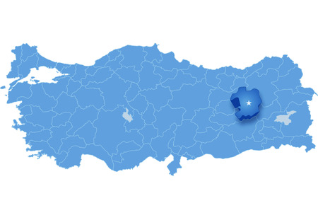 Map of Turkey where Bingol province is pulled out, isolated on white background Illustration