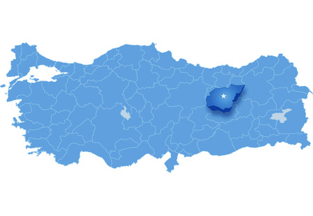 pulled out: Map of Turkey where Tunceli province is pulled out, isolated on white background Illustration