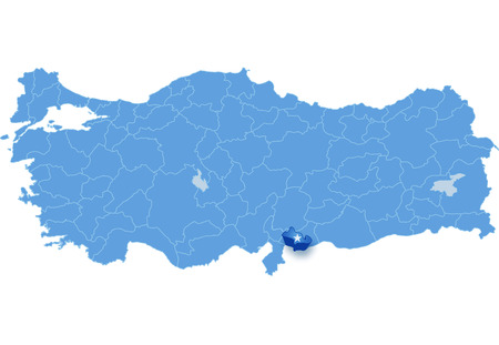 land mark: Map of Turkey where Kilis province is pulled out, isolated on white background Illustration