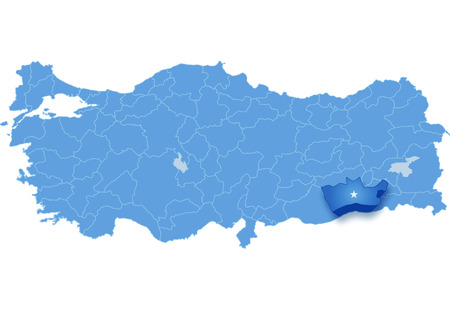 subdivisions: Map of Turkey where Mardin province is pulled out, isolated on white background Illustration