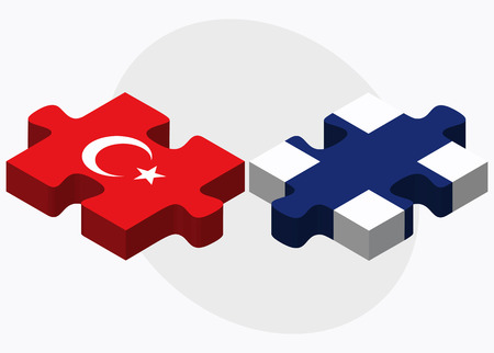 Turkey and Finland Flags in puzzle isolated on white background