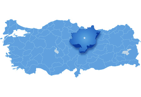 pulled out: Map of Turkey where Sivas province is pulled out, isolated on white background Illustration