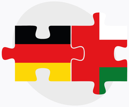 oman background: Germany and Oman Flags in puzzle isolated on white background