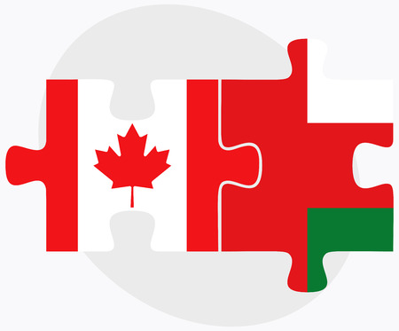 oman background: Canada and Oman Flags in puzzle isolated on white background