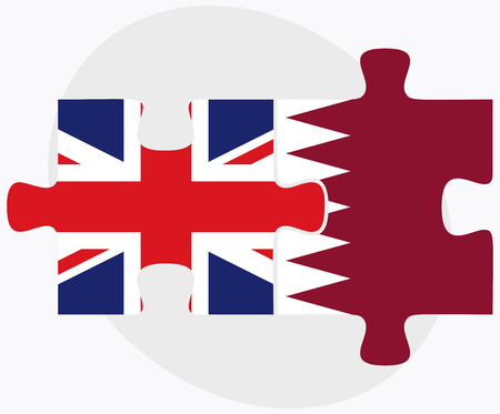 doha: United Kingdom and Qatar Flags in puzzle isolated on white background