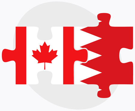 bahrain: Canada and Bahrain Flags in puzzle  isolated on white background