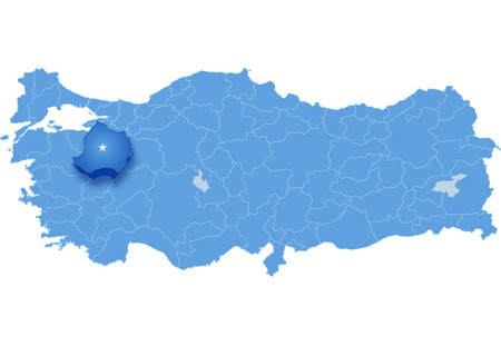 subdivisions: Map of Turkey where Kutahya province is pulled out, isolated on white background Illustration
