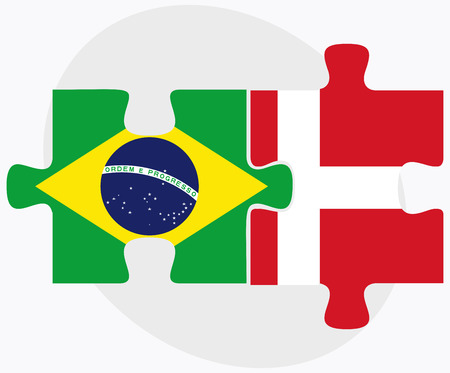 Brazil And Kingdom Of Denmark Flags In Puzzle Isolated On White - Denmark flags