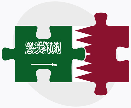 doha: Saudi Arabia and Qatar Flags in puzzle isolated on white background