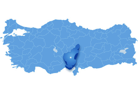 pulled out: Map of Turkey where Adana province is pulled out, isolated on white background