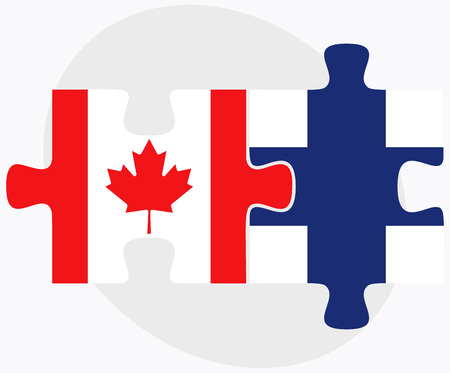 Canada and Finland Flags in puzzle isolated on white background