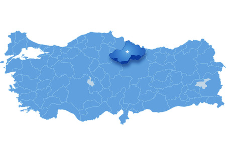 subdivision: Map of Turkey where Tokat province is pulled out, isolated on white background