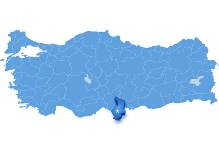 subdivisions: Map of Turkey where Hatay province is pulled out, isolated on white background