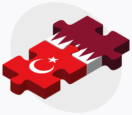 doha: Turkey and Qatar Flags in puzzle isolated on white background