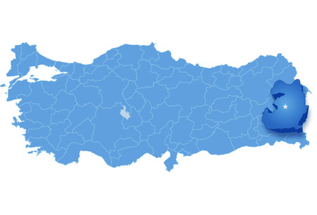haul: Map of Turkey where Van province is pulled out, isolated on white background Illustration