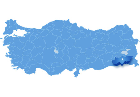 pulled out: Map of Turkey where Sirnak province is pulled out, isolated on white background