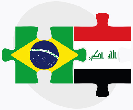 federative republic of brazil: Brazil and Iraq Flags in puzzle isolated on white background