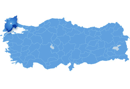 subdivisions: Map of Turkey where Tekirdag province is pulled out, isolated on white background Illustration