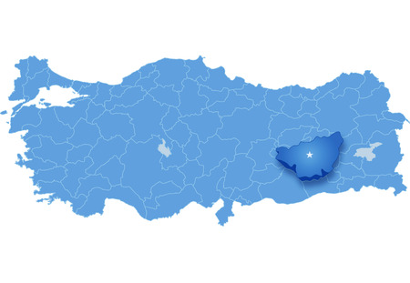 pulled out: Map of Turkey where Diyarbakir province is pulled out, isolated on white background