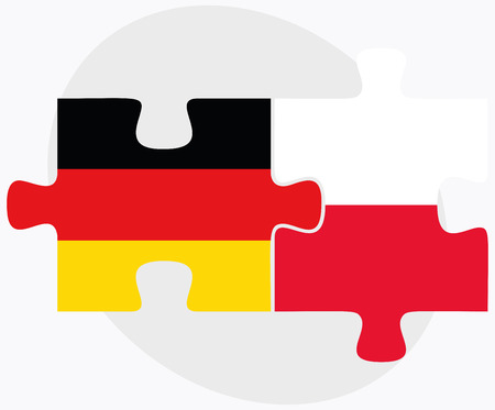 puzzle background: Germany and Poland Flags in puzzle isolated on white background