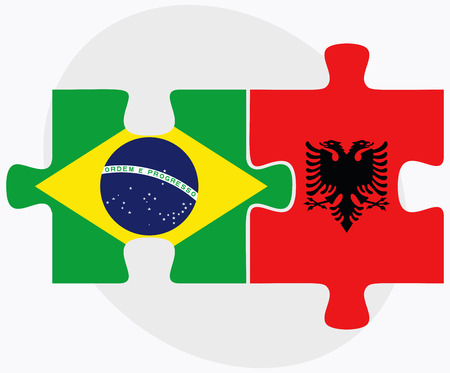 albanie: Brazil and Albania Flags in puzzle  isolated on white background