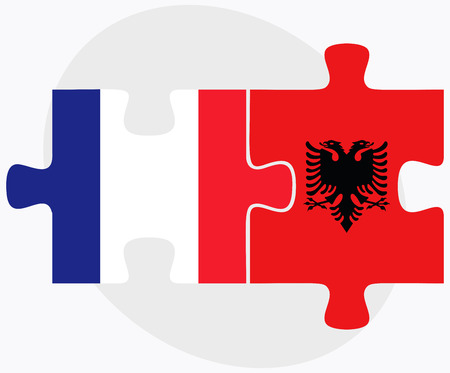 albanie: France and Albania Flags in puzzle  isolated on white background