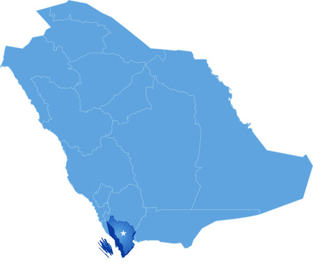 Map of Saudi Arabia, the region Jizan is pulled out, isolated on white background