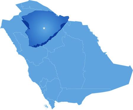 granizo: Mapa de Arabia Saudita, la regi�n Ha'il se saca, aislado en fondo blanco