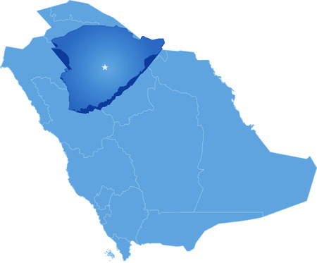 Map of Saudi Arabia, the region Hail is pulled out, isolated on white background