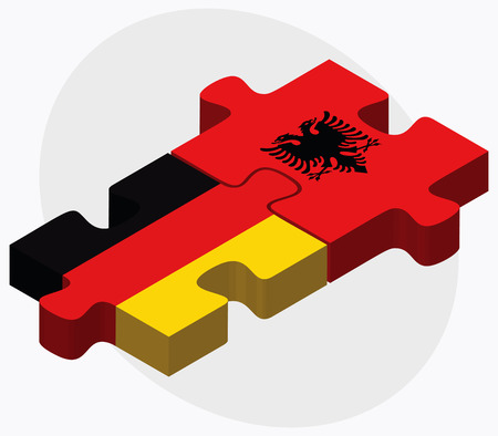 Germany and Albania Flags in puzzle  isolated on white background Illustration