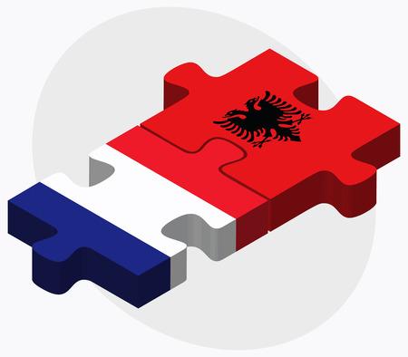 albanie: La France et l'Albanie Drapeaux dans le puzzle isol� sur fond blanc