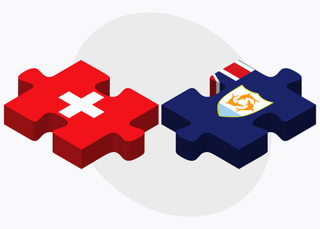 anguilla: Switzerland and Anguilla Flags in puzzle isolated on white background Illustration